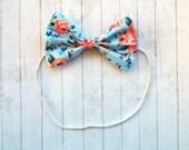 Baby Headband - Floral Bow - Baby Hair Bow - Hair Bow - Baby Bow - Baby Girl Bow - Hair Clip - Bow Headband - Baby Girl Headband