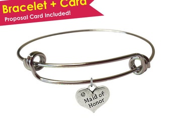 SALE: Will You Be My Maid of Honor Bracelet- Maid of Honor Proposal- Maid of Honor Gift- Will You Be My Maid of Honor Gift- Matron of Honor