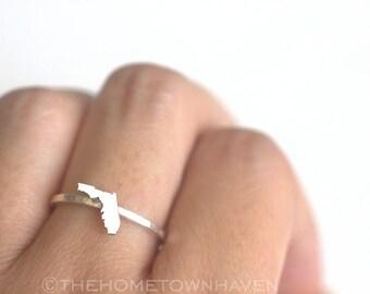 Florida Ring - I heart Florida ring, Florida map ring, Stacking rings