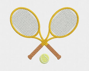 Tennis Rackets Machine Embroidery Design - 4 Sizes