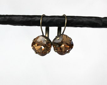 Light Colorado Topaz Swarovski Crystal Cushion Cut 12mm Drop Earrings - Antique Silver, Antique Brass, Shiny Silver, and Black Metal Finish