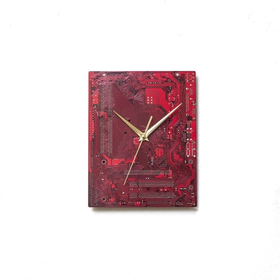 Red Wall Clock, Red Wall Decor, Red Industrial Wall Clock, Red Circuit Board Clock, Wall Accent, Husband Gift, Boyfriend Gift, Dad Gift