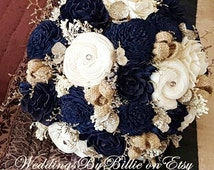 Navy Blue Sola Bouquet, Blue Champagne Ivory Bouquet, Wedding Flowers, Rustic Shabby Chic,Bridal Accessories, Keepsake Bouquet, Sola Flowers
