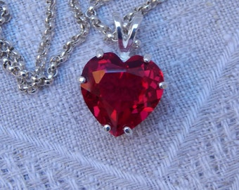 Ruby Heart Necklace, Ruby & Sterling Heart Necklace, Ruby Heart Pendant Necklace, Ruby Heart Pendant, July Birthstone, Lab Created Ruby