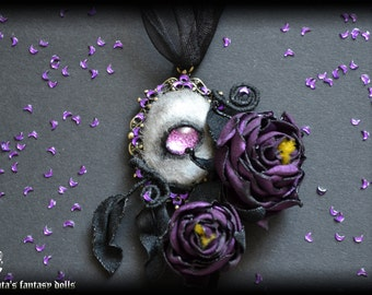 Enchanted wolf necklace, sequins jewelry, violet Gothic Roses, fabric roses