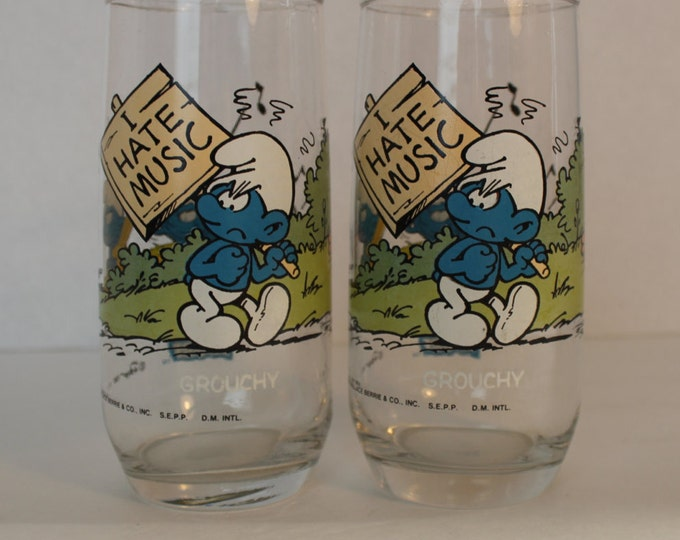 Vintage Grouchy Smurf Drinking Glasses Set of 2