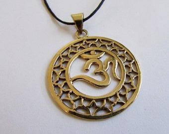 Circle Om Ohm Aum brass pendant On Wax Cord Yoga Jewellery Adjustable Unisex Free UK Shipping + Gift Bag