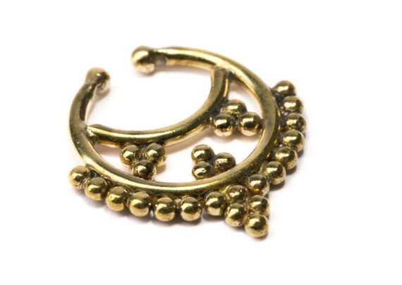 Septum Ring Brass Nickel Free Septum Fake Septum Tribal Jewelery Indian Nose Ring B17 Gift Boxed and Gift Bag Free UK Delivery