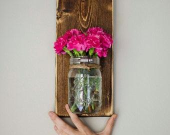 Mason Jar Wall Planter dark Color - Indoor / outdoor herb garden Vintage Wall Planter, Hanging Planter