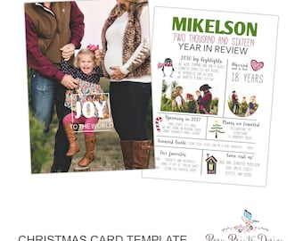 Christmas Card Photoshop Template - Year in Review - Family Newsletter - 5x7 Photo Card - INSTANT DOWNLOAD or Printable - CC43