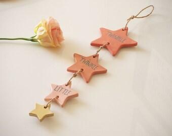 Twinkle twinkle little star nursery decor - Star baby shower decor - Ombre nursery decor - Clay star decoration - Baby girl nursery decor