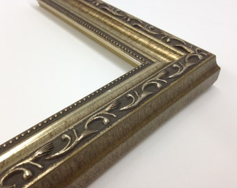 Silver Ornate Picture Frame 3x5, 4x6, 5x7, 8x10, 11x14, 16x20, 18x24, 24x36 + Custom Sizes, Silver Scoop With Beaded Edge, Antiqued Silver