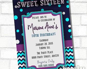 Sweet 16 Invite Sweet Sixteen Invite 16th Birthday Invitation Sixteen Candles Teen Birthday Party Teen Girl Invitation Teen Party Invite