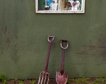 Outil miniature, Pelle Miniature en métal rouillé, accessoire décoration jardin maison de poupées échelle 1/12