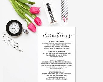 Wedding Information Card Printable, Blank Wedding Card Download, Wedding Info Card, Black & White Wedding Card, Directions, WSET2
