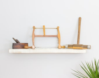 Rustic White Oak Floating Shelf 200mm Deep - Widths from 40-100cm Wall Shelves