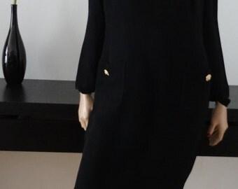 Robe vintage noire chic DÉ ROYAL Paris boutons dorés strass taille 40-42 / uk 12-14 / us 8-10
