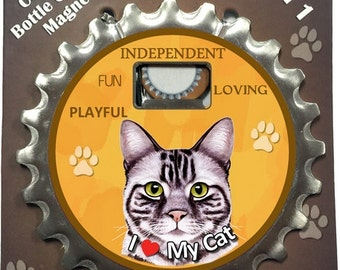 Silver Tabby Cat Bottle opener, coaster, and magnet. A 3 in 1 multi-tool gadget made from heavy duty stainless metal.  A Perfect gift.