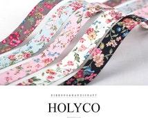 "SAHA' Flowers Fabric Folding Ribbon / 3/8""(10mm), 1""(25mm), 1.5""(40mm) / made in Korea"