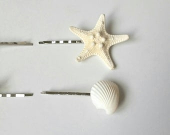 Starfish Hair Clips, Seashell Hair Clips - 4 PC Beach Hair Accessories, Beach Wedding, Mermaid Hair