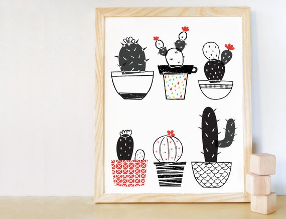 Black And White Nursery Wall Decor : Cactus set wall art nursery decor black and white digital