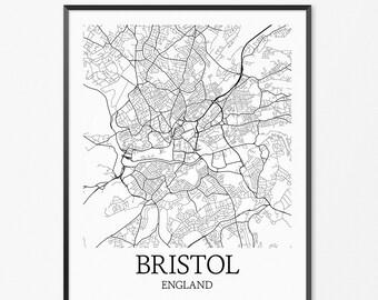 Bristol Map Art Print, Bristol Poster Map of Bristol Decor, Bristol City Map Art, Bristol Gift, Bristol England Art Poster