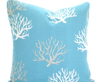 Aqua Gray Nautical Pillow Covers, Coastal Blue, Coral Cushion Covers, Patio Pillows, Decorative Pillow, Beach Decor, One or More All Sizes