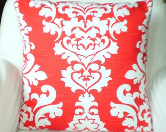 Orange Decorative Throw Pillow Covers, Cushion Covers Lava Orange Damask Pillows, Couch Pillows, Berlin, Throw Pillow, One or More All Sizes