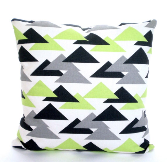 Green Geometric Throw Pillow : Green Gray Charcoal Decorative Throw Pillow Covers Cushions