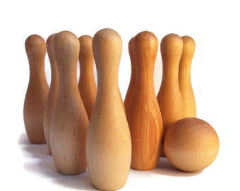 10 Pin Tabletop Skittles Bowling // Natural Wooden Toy // Waldorf Montessori // Eco Friendly Gift For Kids // Toddler or Preschooler Games