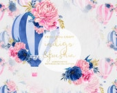 Watercolor Flowers ClipArt Hot Air Balloon Peony Roses Navy Blue Hot Pink Gold Floral Wedding DIY Invitation Pack Romantic Original Summer