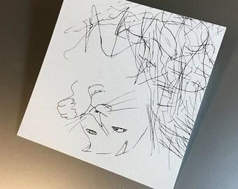 "Chicken Scratch Mini Print 4x4"" (print of illustration from Chicken: A Comic Cat Memoir)"