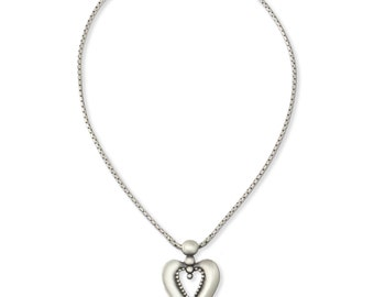 Heart Necklace, Silver Heart Necklace, Detailed Heart Necklace, Romantic Necklace, Heart Jewelry, Brushed Silver Heart, Matte Silver Heart