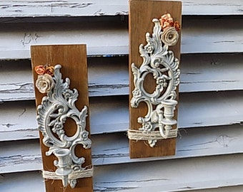 Upcycled Candle Wall Sconces ~ Shabby Chic ~ Rustic Decor