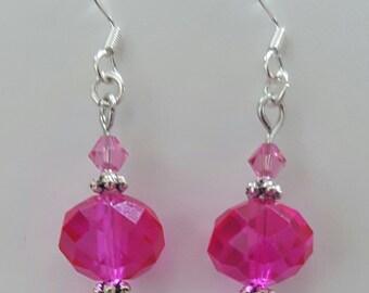 Pink beaded dangle pierced earrings