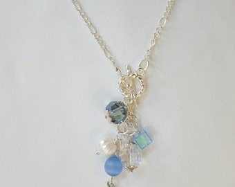 Butterfly beaded charm necklace