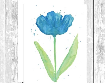"NOTECARD: Abstract Blue Tulip; Blue and Green Flower 4.25"" x 5.5"" A2 Greeting Card, Gift for Her, Gift for Friend,Gift for Mom, Flower Lover"