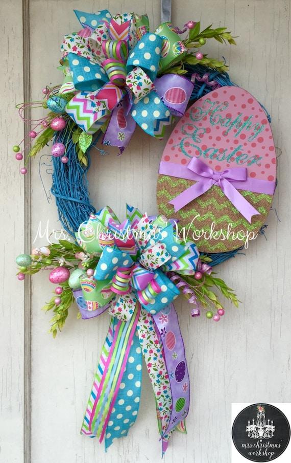 Easter Wreath Grapevine Wreath Easter Egg Wreath Bunny Wreath