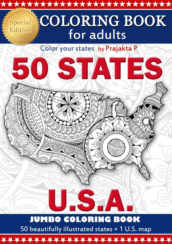 Adult coloring book us maps all 50 states patriotic Coloring book for adults philippines