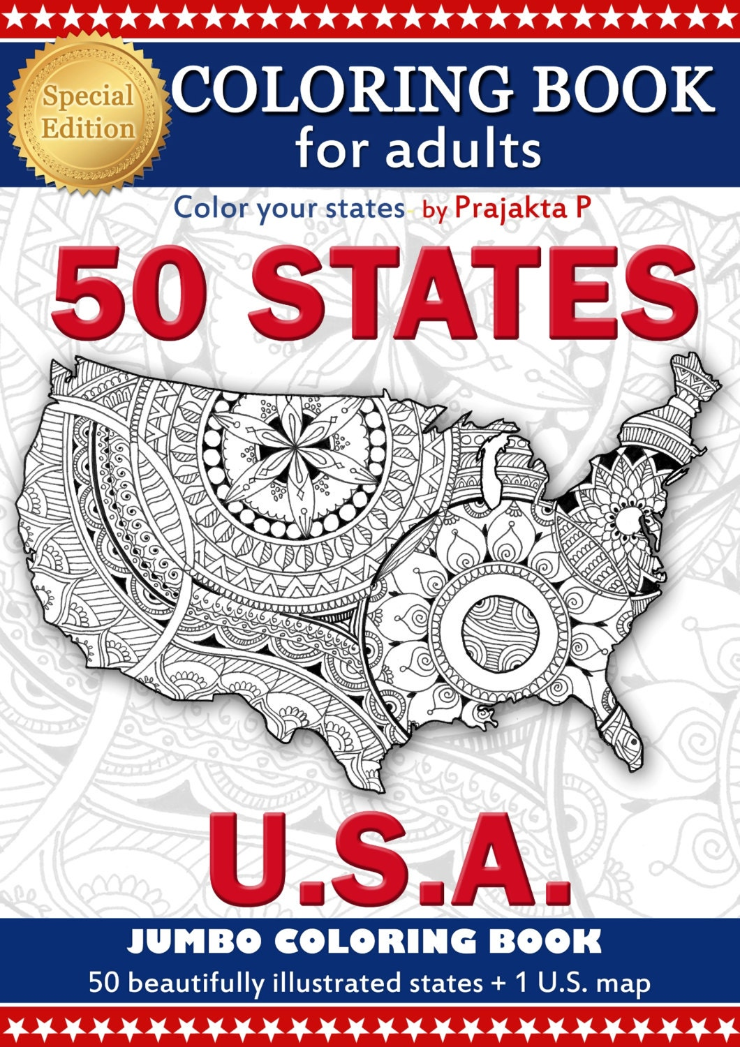 Adult Coloring Book US Maps All States Patriotic - Us map of all states