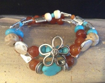 Genuine Sonoran Turquoise Silver Flower and Orange Agate Bracelet!  Item B163