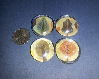 Glitter Tree Glass Marble Magnet (Set of 4)