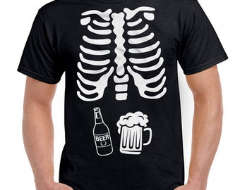 Beer Skeleton Ribcage T Shirt Halloween Costume Shirt Pregnancy Costume Halloween Pregnancy Announcement Expectant Father Mens SPT-05