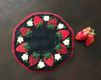 Strawberry Penny Rug * Candle Mat * Red Strawberries * Wool Penny Rug * Gift *