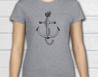 Womens Nautical clothing, Anchor Shirt, Nautical Shirt, Anchor Tshirt, Navy Shirt, Sailor Shirt, Ladies Tshirt, Ladies tees, Crewneck