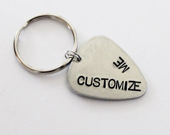 Personalized Guitar Pick Keychain. Customizable Guitar Pick. Guitar. Guitar Keychain.