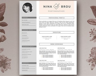Feminine Resume Template & Cover Letter for MS Word and Pages | Stylish  Resume | Minimal