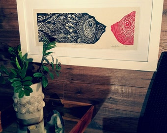ORIGINAL FISH LINOCUT - linoleum blockprint - handprinted