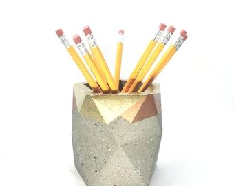 Geometric Concrete Pencil Holder // Desk Organizer (Gold & Copper)