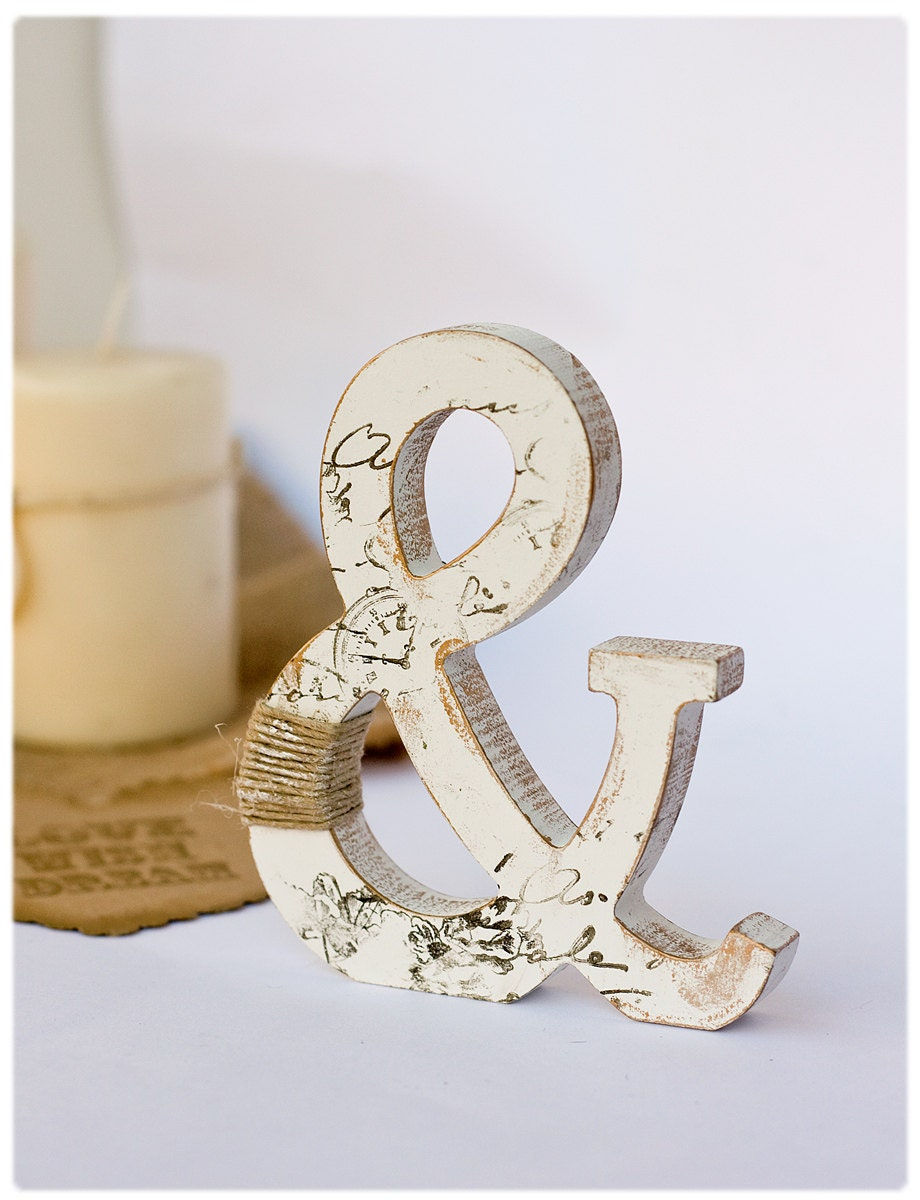 Wooden ampersand stand alone letter rustic cake topper for Ampersand decoration etsy